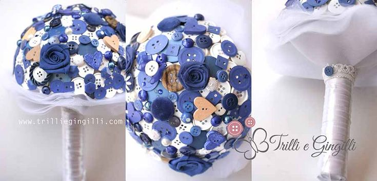 Bouquet a tema mare con bottoni blu e conchiglie. Alternative bouquet with blue buttons. #bouquet #wedding