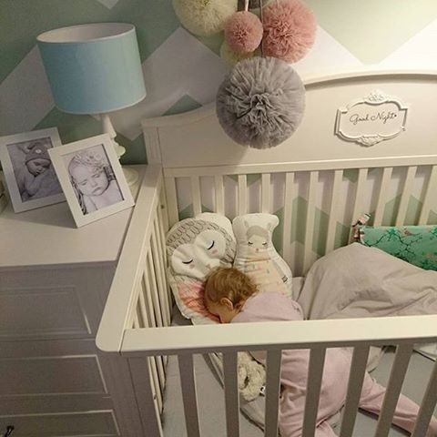 Cute isn't she ? She looks so happy and comfy in Funique's Lilly #cot #bed convertible to #toddler bed