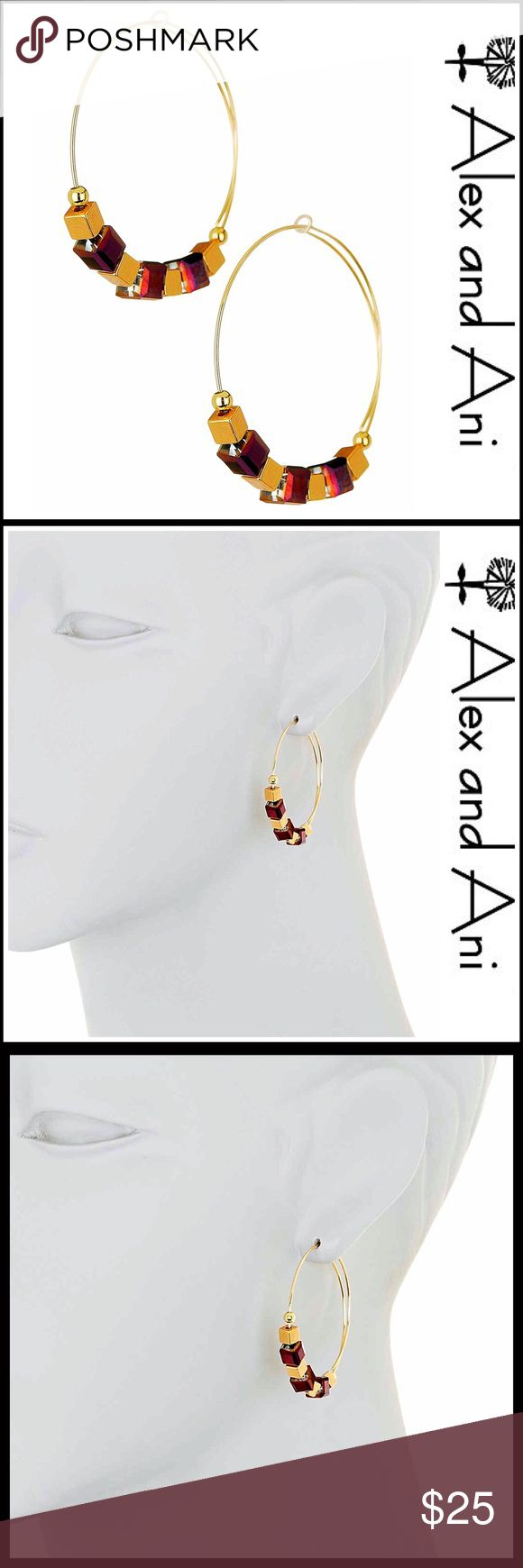 "ALEX & ANI Beaded Hoop Earrings 💟NEW WITH TAGS💟   ALEX & ANI Beaded Hoop Earrings   * Cube beaded details    * Beautiful gold-tone finish     * Measures approx 1 5/8"" long  * Threads through ear   * Made in USA Material: Gold-tone metal, glass bead Item#  Statement 🚫No Trades🚫 ✅ Offers Considered*/Bundle Discounts✅ *Please use the 'offer' button to submit an offer Alex & Ani Jewelry Earrings"