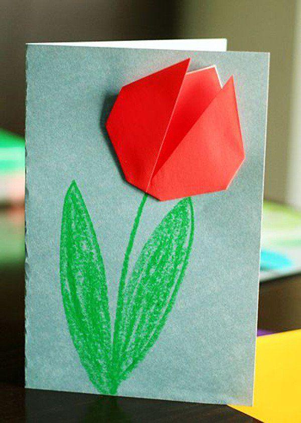 Цветок оригами на 8 марта на открытку