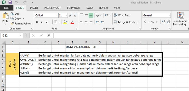 langkah-langkah data validation list