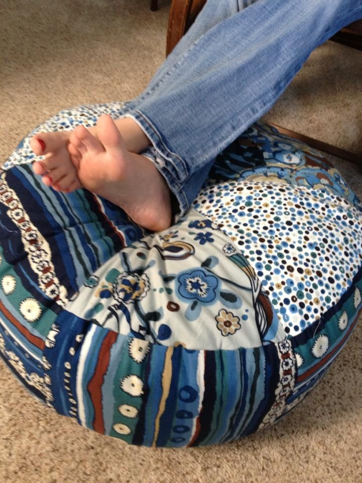 """Pattern to create this cute ottoman that measure ~24"""" diameter and 10"""" tall! Fabric wedges, a zipper and 6 lbs of fluff are all you need to make your own tuffet for resting those tired toes. *This is"""