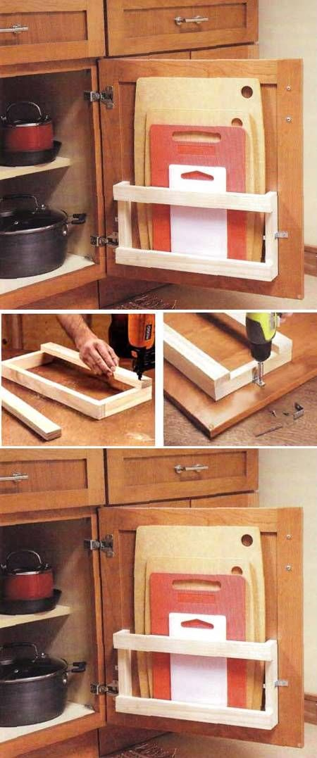 17 best ideas about cutting board storage on pinterest for Building kitchen cabinets in place
