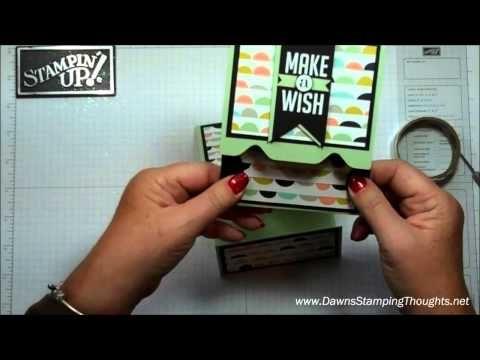 """Stampin'Up! Envelope Punch Board, gift card holder video , Sweet Sorbet designer paper , Sale-a-Bration 2014 , Perfect Pennants stamp set , 13/8"""" Circle punch , Big Shot Banners framelits"""