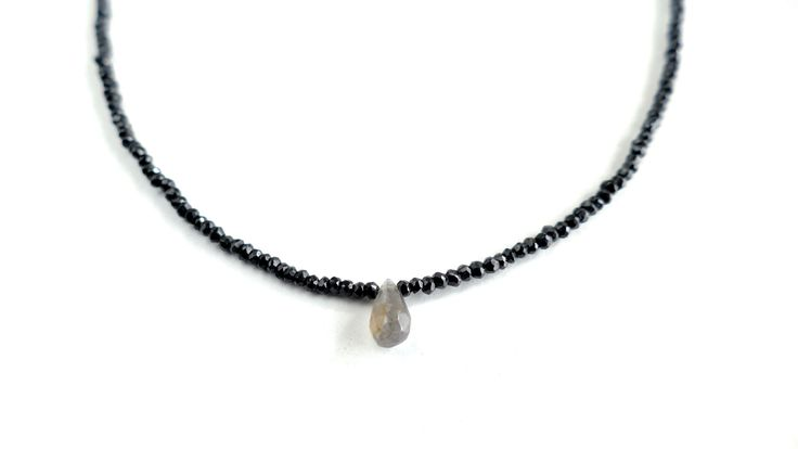 Necklace from Spinel with one stone (drop) of Labradorite -Price:54€