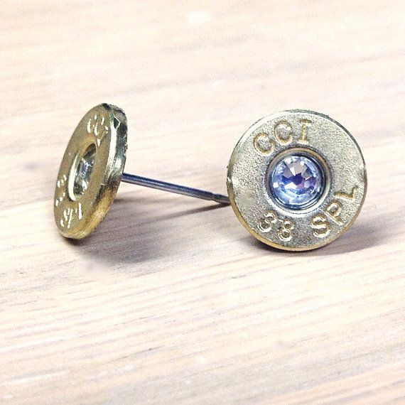 Salvaged 38 Special Bullet Earrings - Choose your Birthstone by creativityismessy, $15.00