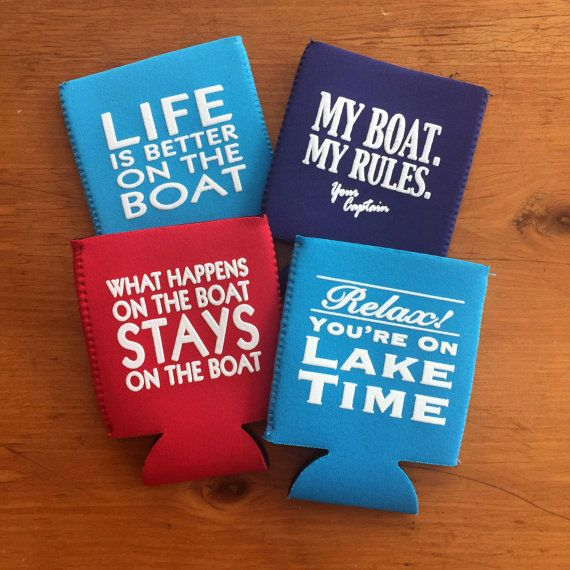 Set of 4 Boat Can Coolers  Keep your drinks cold on the lake! These collapsible neoprene can (coolies, cozys, kozies, cozies) fold flat. You can