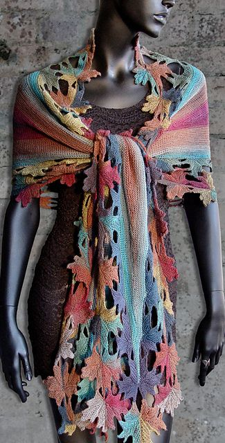 Knitted shawl Autumn Lace pattern by Svetlana Gordon