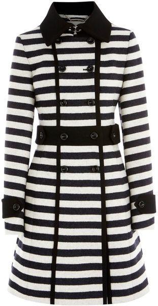 KAREN MILLEN ENGLAND   Graphic Stripe Coat
