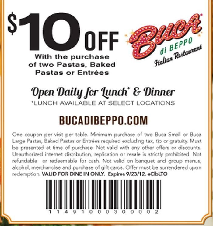 picture relating to Buca Di Beppo Printable Coupons named Buca di beppo coupon codes - Tent about mattress