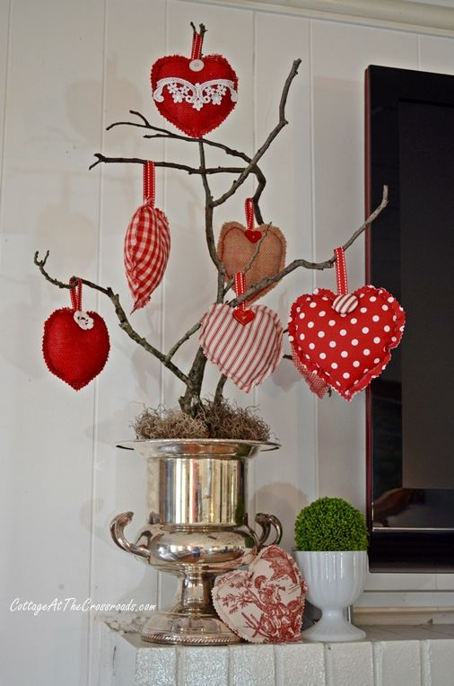 Valentine's Day Mantel   DIY home decor decorating ideas   Cottage at the Crossroads