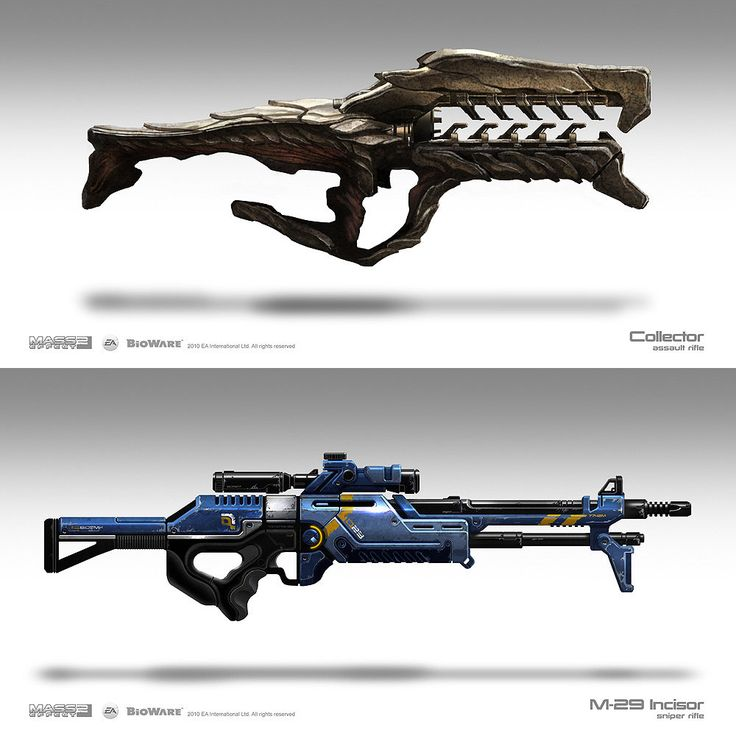 Weapon Concepts – Mass Effect 3.    Brian Sum.  The design of the gun on top in particular is very interesting. It seems inspired by some tye of animal or bug as it is made of a very though looking scale outside.   (Videogame-art.2012)