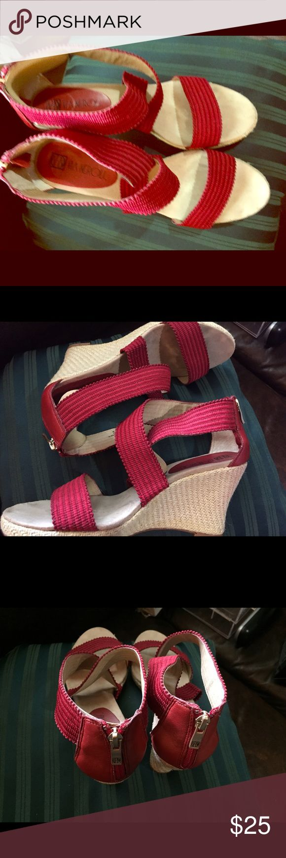 Shoes Red ankle/criss/cross straps Wedges.Fabric uppers, Zipper in back with leather strip via Neroli Shoes Sandals