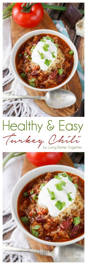 This HEALTHY and EASY Turkey Chili has perfect heat and a SECRET INGREDIENT that makes it the ultimate winter meal and perfect for game days!
