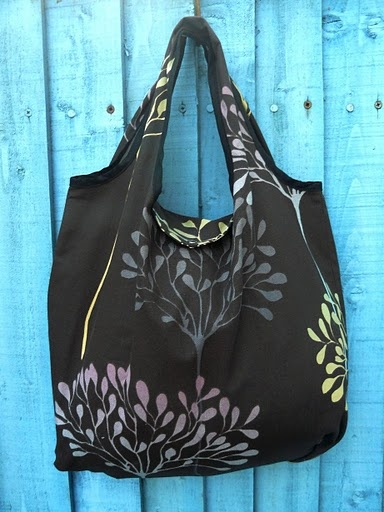 Fold away shopping bag tutorial.  I use a lot of these from ChicoBag, and these could be customized.