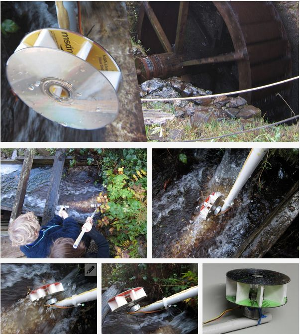 "(yet another) ZOMBIE APOCALYPSE TUTORIAL!!! ""Build A Small Hydropower Generator... ""  using an old printer, some CDs & a length of pipe or a broom handle. This generator isn't going to produce much electricity, probably just enough to run an LED light, but that's not the point, it's an excellent introduction, showing the basics of hydroelectricity, should you want to build a generator capable of creating a usable amount of electricity."