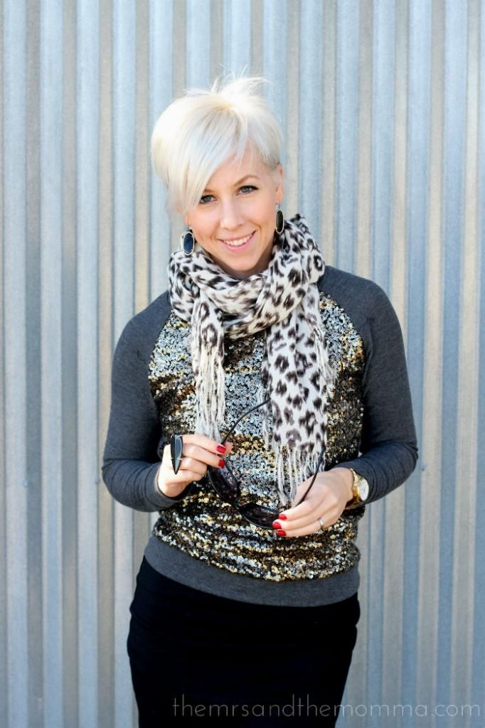Pixie cut // the MRS. the MOMMA: Smart Style: Pixie + Sequin Sweatshirt