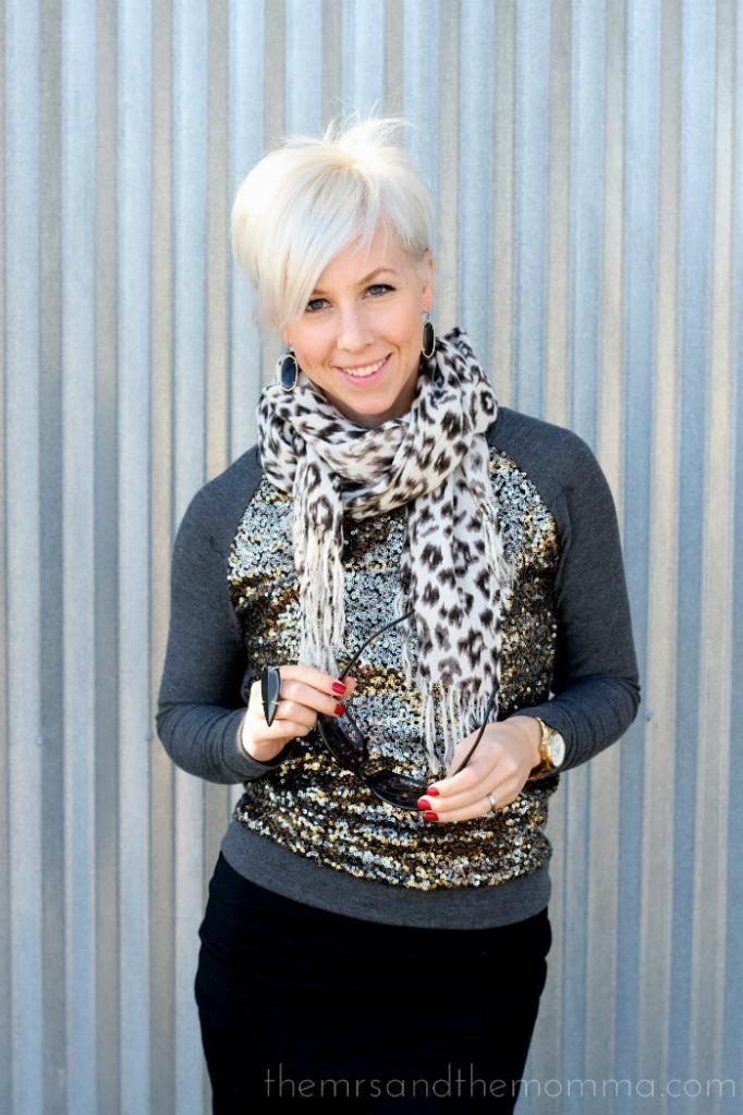 Pixie cut // the MRS.  the MOMMA: Smart Style: Pixie + Sequin Sweatshirt