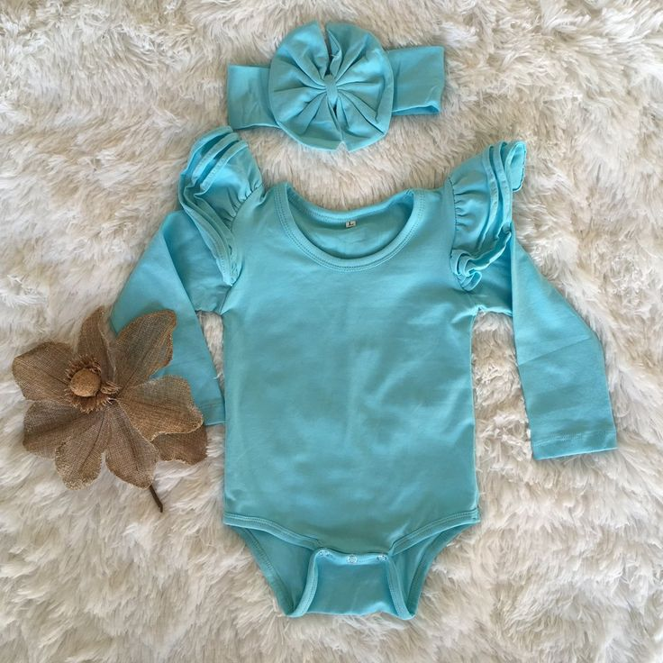Long Sleeve Flutter Bodysuit   headwrap - Aqua