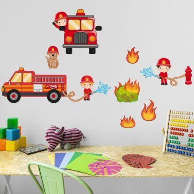 Vintage Wandtattoo Kinderzimmer Feuerwehr im Einsatz Set x Jetzt bestellen unter https