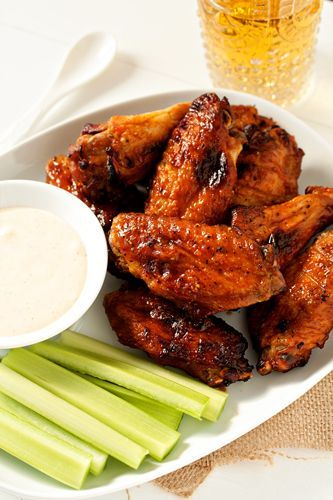Sweet and Spicy Baked Chicken Wings. The honey adds amazing glaze factor that sends these wings over the edge! Serve these Sweet and Spice Chicken Wings with some homemade blue cheese or ranch dressing and a side of celery sticks and you'll be all set for game night!