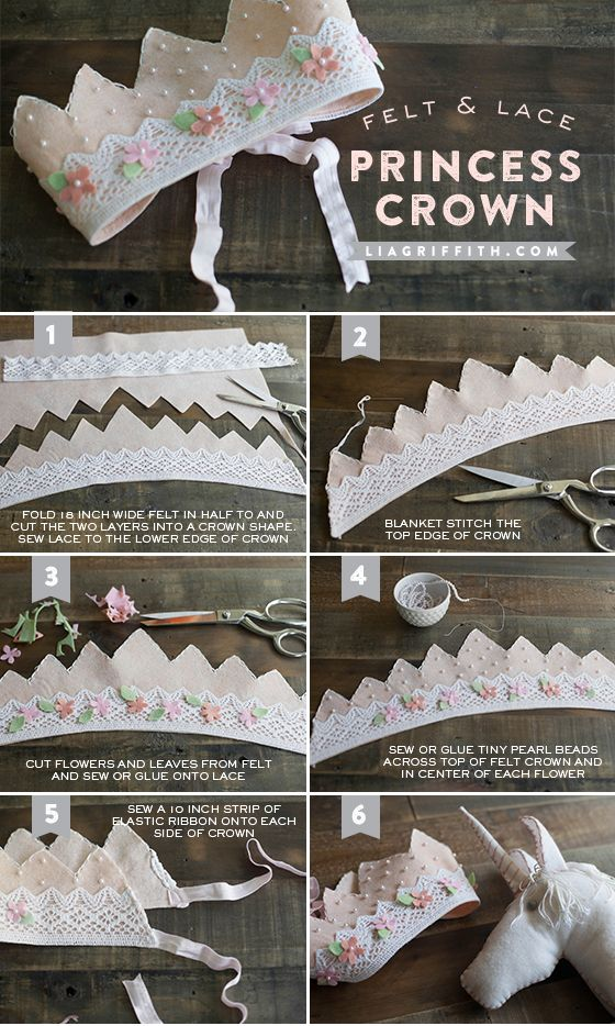 Make a Felt and Lace Princess Crown | Lia Griffith.. @Chelsea Gomes .. Adorable for Jameson's birthday party.