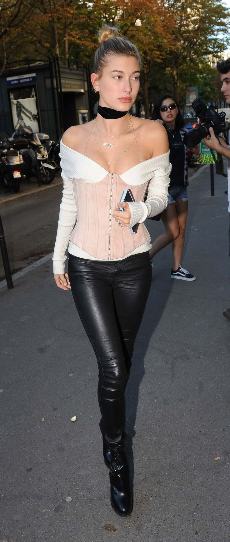 Hailey Baldwin: The Corset - After a summer of stars in deconstructed corsets, it was refreshing to see Baldwin do it the model-off-duty way, with skinny leather leggings and thick-soled boots.