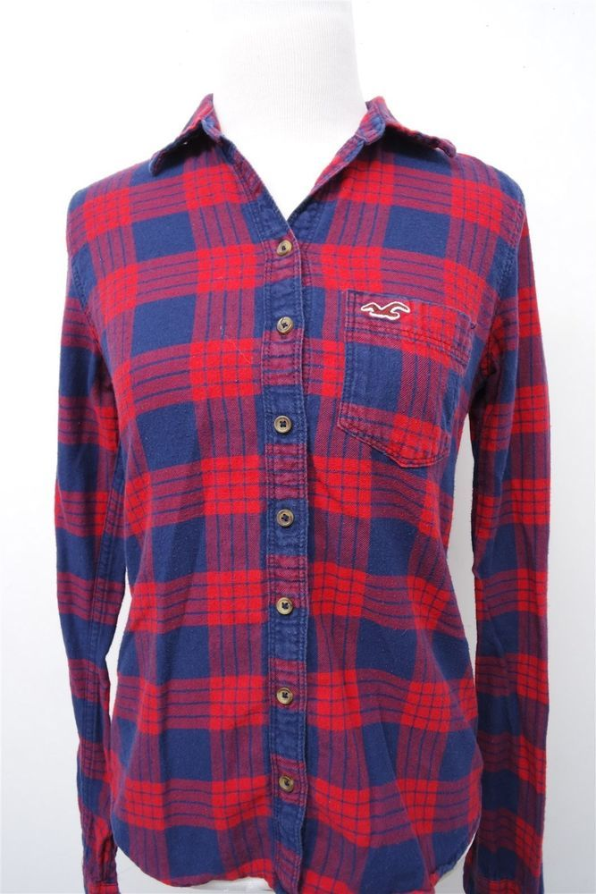 Hollister red blue plaid flannel button down shirt top blouse- S womens L/S#3629  | eBay