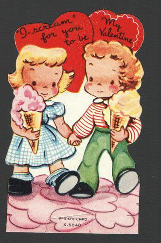 vintage ice cream valentines card, how cute!