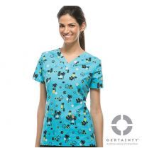 46615CA Model Antimicrobial Code Happy V-neck Printed Scrub Top