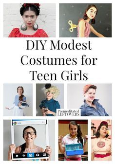 8 DIY Modest Costumes for Teen Girls- Are you looking for a fun yet modest costume for your teen girl to dress in for Halloween or a Harvest Party? These 8 DIY Halloween costumes are quite creative!