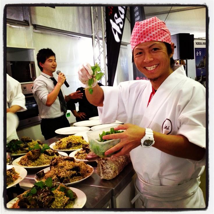 Chef Shinichi preparing ingredients at Noosa Food & Wine Festival