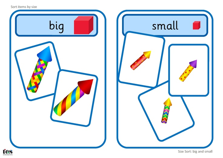 Printable activity, with a firework theme, suitable for workstation use. Learners sort images into big or small groups. The base boards could also be used when sorting other items by size.
