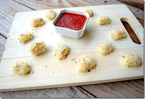 Baked Mozzarella Bites. Quick and Easy! Servings: 4.   Serving Size: 3 mozzarella bites + 1 Tbsp marinara sauce.   Calories: 91