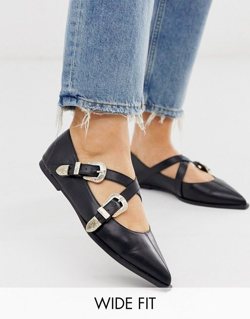 DESIGN Wide Fit Lexicon pointed ballet flats in black
