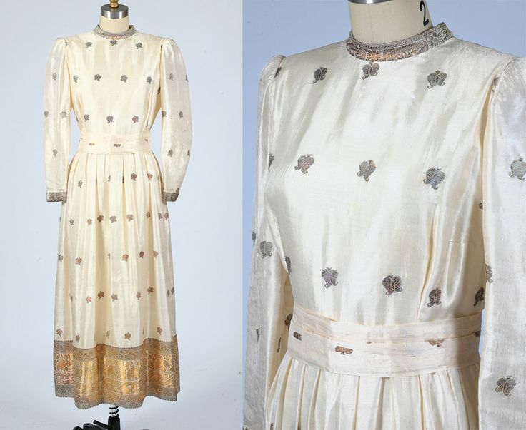 vintage 1960s silk sari-inspired maxi dress wedding dress golden thread medium