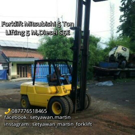 [ FOR SALE ] FORKLIFT MITSUBISHI 5 Ton, Lifting Height 5 M, Diesel Mitsubishi S6E,  087776518465.