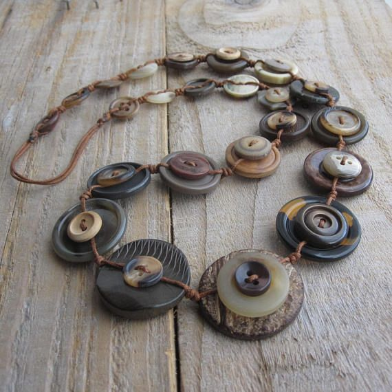 Long Button Necklace  Brown Neutral Long Length Necklace  No