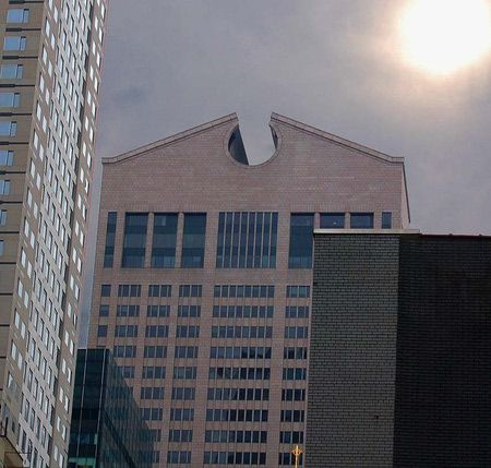Philip Johnson's At&T Headquarters (now the SONY Building) is often cited as an example of postmodernism.
