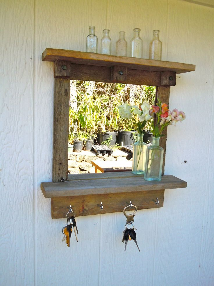 Reclaimed Wood Rustic Craftsman Style Mirror With Shelves
