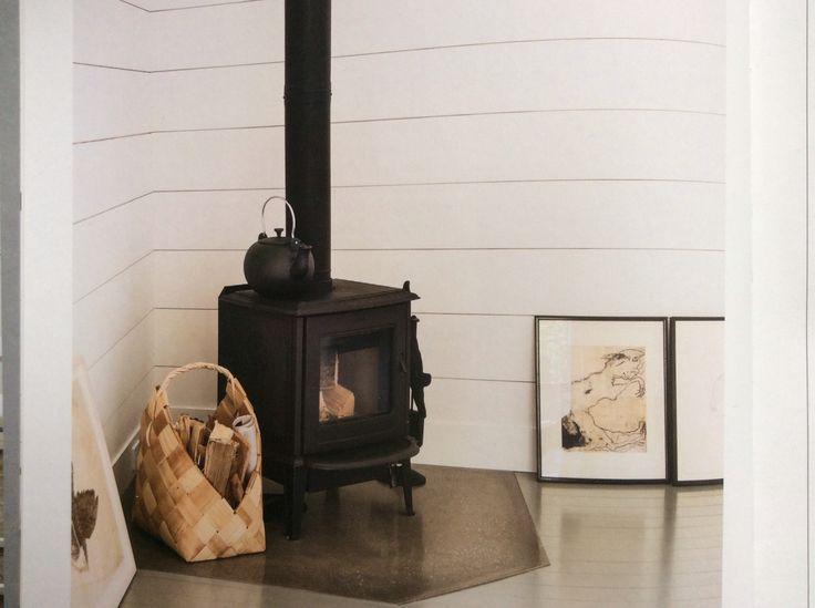Log burner in the corner