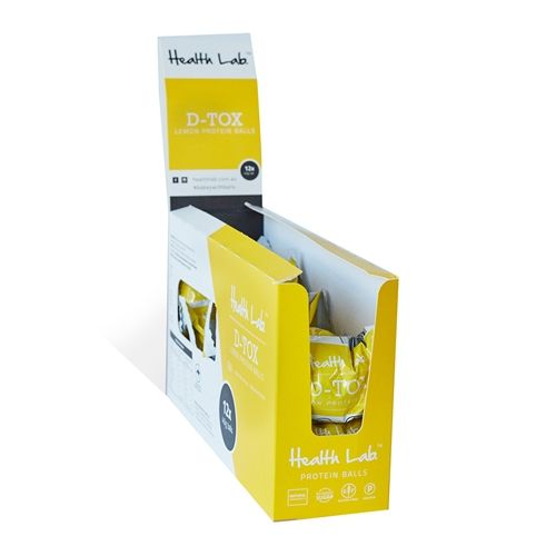 Wrapped 12 Protein Balls 40g - D-Tox Lemon - Health Lab (12x40g)