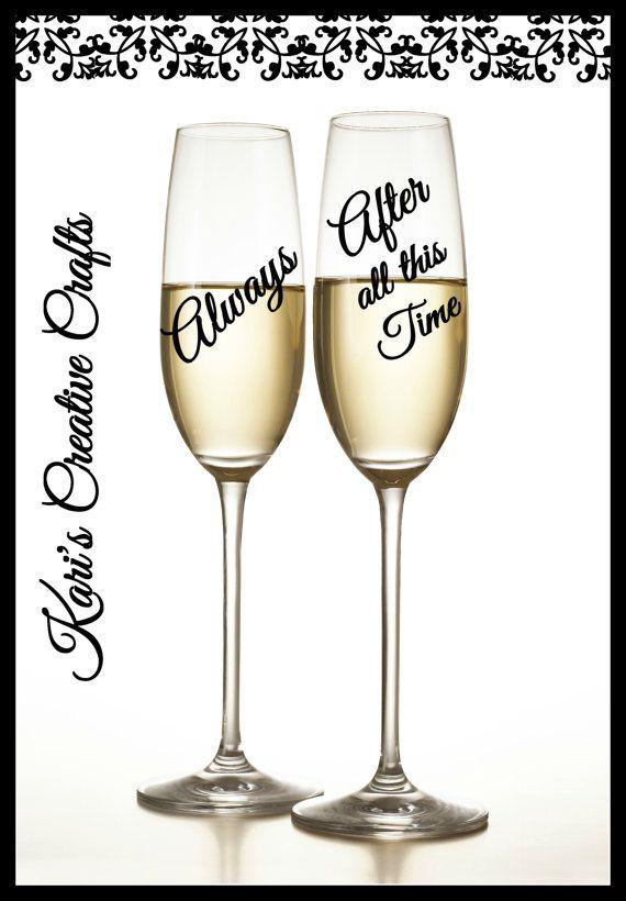Wedding Anniversary Champagne Flutes by KarisCreativeCrafts