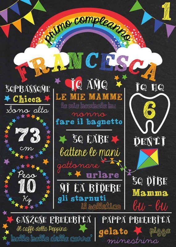 File poster effetto lavagna Primo compleanno tema Arcobaleno