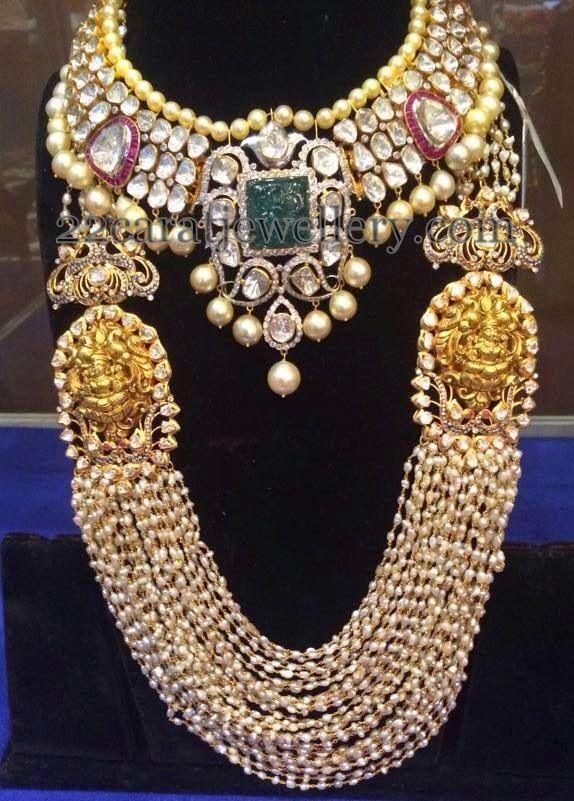Jewellery Designs: Kundan Choker Pearls Haram