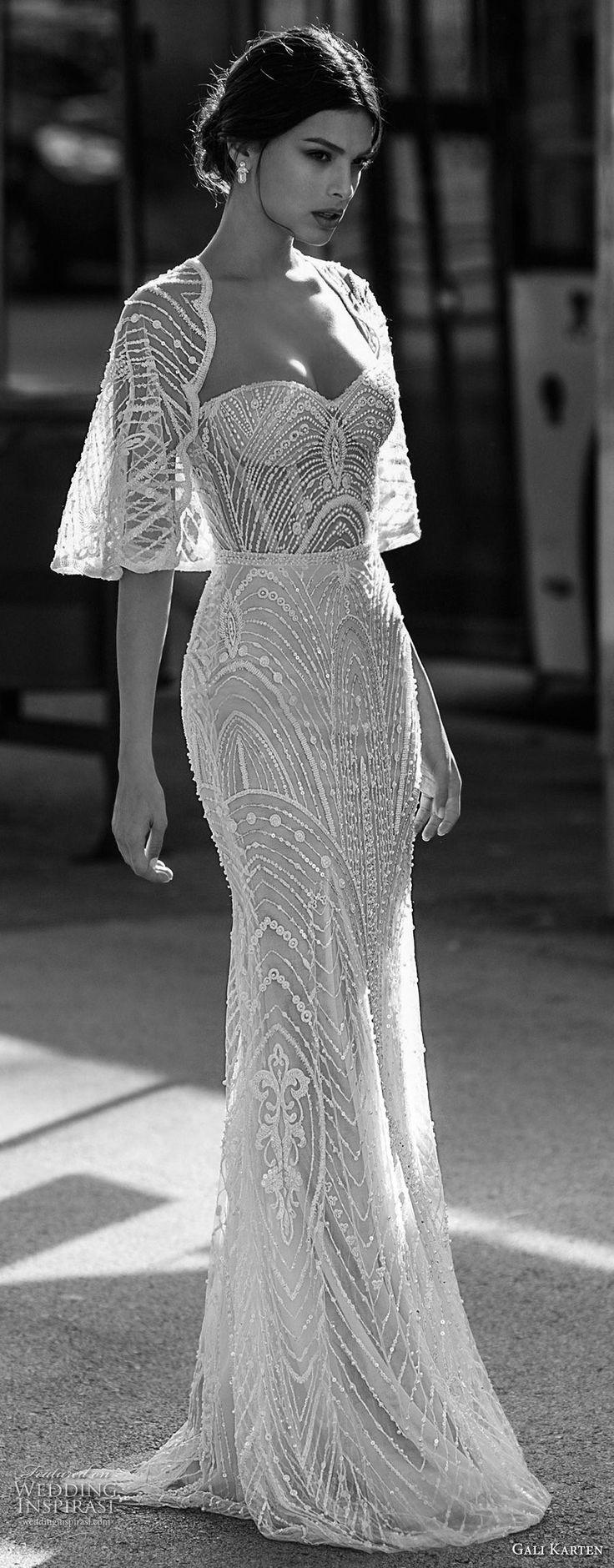 gali karten 2017 bridal strapless sweetheart neckline full beaded embellishment elegant sheath wedding dress with shrug sweep train (11) mv