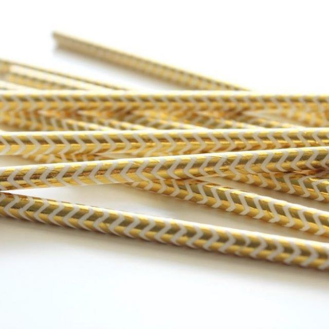 My current paper straw crush  these glam gold foil chevron straws just arrived this week  $4 for a pack of 12 #poprocparties #partyshop #partysupplies #goldfoil #goldchevronstraws #partystraws #paperstraws #gold