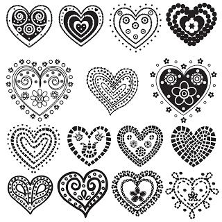 Free 15 Digi Stamps Hearts