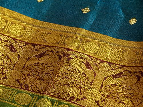 The Kanjeevaram Sari from South India- made of silk and gold thread