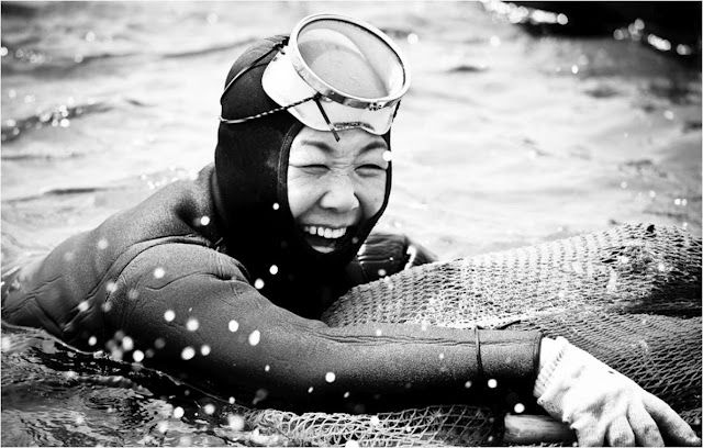 The Indomitable Diving Grandmas of Jeju Island. Each day the remaining haenyo gather at the shore line. They sing their songs of love, loss and lament as they ready themselves, don their wet suits and dive once more as they have always done as did their mothers and grandmothers. The tradition may pass but for these ladies, this is the time of their lives. (Image credit DMac 4D MKII on Flickr)